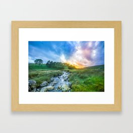 Sunset summer in Wicklow Mountains Framed Art Print