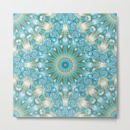 Turquoise and Gold Mandala Tile Metal Print