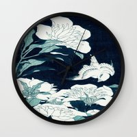 japanese Wall Clocks featuring JAPANESE FLOWERS by PureVintageLove