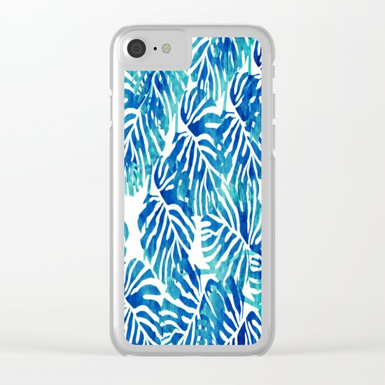 Tropical Leaves – Blue Abstract Clear iPhone Case