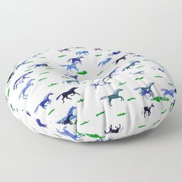 Blue Stampede Floor Pillow