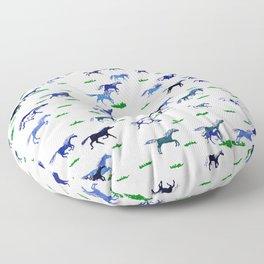 Blue Stampede Floor Pillow