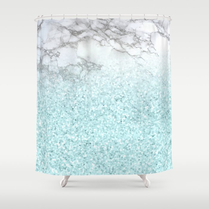 Pretty Turquoise Sparkles on Gray and White Marble Shower Curtain