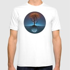 Tree, Candles, and the Moon MEDIUM Mens Fitted Tee White