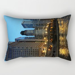 Chicago River and Buildings at Dusk Color Photo Rectangular Pillow