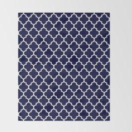 White Moroccan Quatrefoil On Navy Blue Throw Blanket
