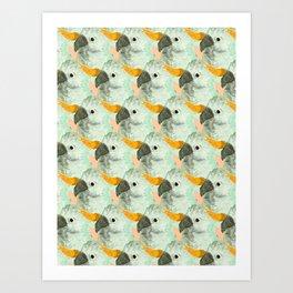 Parrots Print (Coral) Art Print