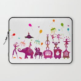 colorful circus carnival traveling in one row on white background Laptop Sleeve