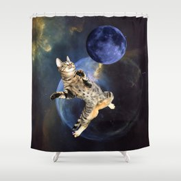 Galaxy Cat and Blue Moon Shower Curtain