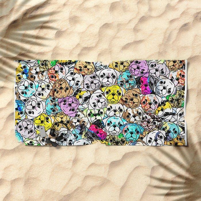 Gemstone Pugs Dogs Beach Towel