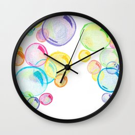 Rainbow Pastel Bubbles Floating Wall Clock