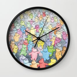 Time to dance! Hippo party illustration Wall Clock