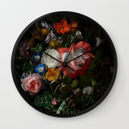 "Rachel Ruysch ""Roses, Convolvulus, Poppies, and Other Flowers in an Urn on a Stone Ledge"" Wall Clock"