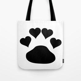 Black Love Hearts Doggie Paw Tote Bag