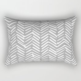 Abstract Herringbone Pattern, Rustic, Gray and White Rectangular Pillow