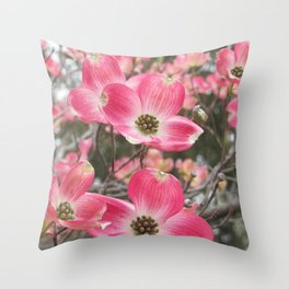 quixotic pink dogwood Throw Pillow