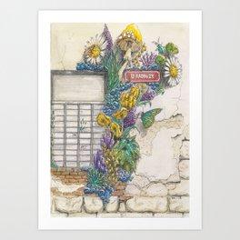 Mushroom and Corals on an Industrial Brick Wall - U Radbuzy Art Print