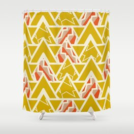 Triangles and lines in yellow Shower Curtain