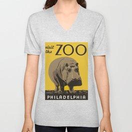 Vintage Visit The Zoo Hippo Unisex V-Neck