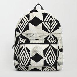 Tribal Shibori Stars Black and Cream Backpack