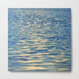 Moonlight Reflections On Peaceful Blue Ocean Waters Metal Print