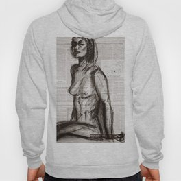 Rain Shower (Regenschauer) Charcoal Newspaper Figure Drawing Hoody
