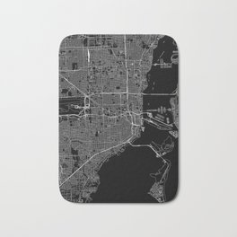 Miami Black Map Bath Mat