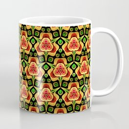 Gold Foil A Rose For You Metallic Red on Black Coffee Mug
