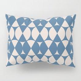 Classic Wheel and Diamond Futurist Pattern 216 Blue and Beige Pillow Sham