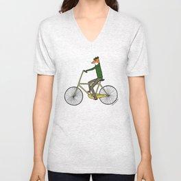 Mr. Fox on a Bicycle Unisex V-Neck