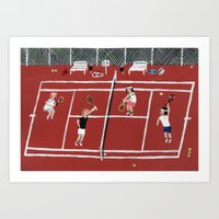 tennis Art Prints featuring Tennis by Angela Dalinger