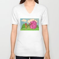 hippo V-neck T-shirts featuring Hippo by Rafael Paschoal