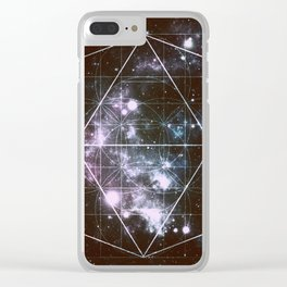 Galaxy Sacred Geometry dark Clear iPhone Case