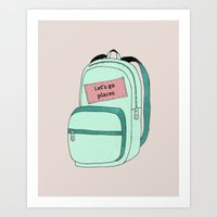 backpack Art Prints featuring Backpack by Mrs. Ciccoricco