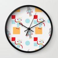 robots Wall Clocks featuring Robots by Samantha Eynon