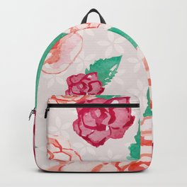 Pink and Peach Flowers in Watercolor Backpack