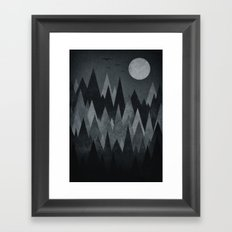 Dark Mystery Abstract Geometric Triangle Peak Wood's (black & white) Framed Art Print