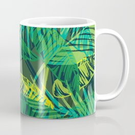 EXOTIC TROPICAL GREEN PALM CLUSTER PATTERN Coffee Mug