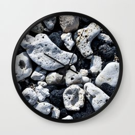 Black and White Rocks Mixed with Lava Rocks in Hawaii Wall Clock