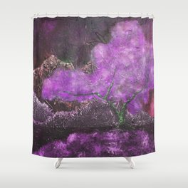 Surreal Impression of Japanese Maple Blossom in Purple Shower Curtain