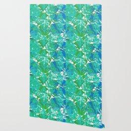 Blue Green Damask Wallpaper
