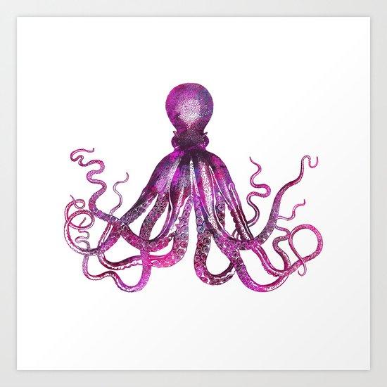 pink Octopus unique underwater creature Art Print