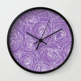 Amethyst Roses Wall Clock