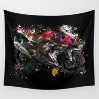 motorcycle Wall Tapestries featuring Motorcycle by ron ashkenazi