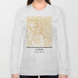 LYON FRANCE CITY STREET MAP ART Long Sleeve T-shirt