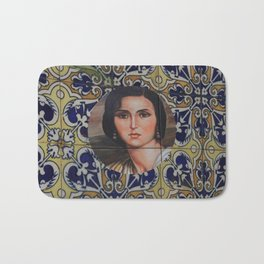 Spain 46 - Woman in Madrid with mosaic on the wall Bath Mat