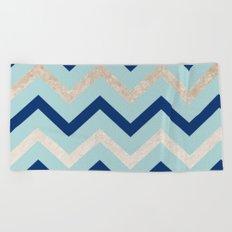 Marine zig zag - golden gradient turquoise Beach Towel