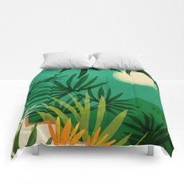 Exotic Garden Nightscape / Tropical Scene Comforters