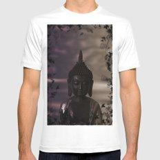 Flower Buddha White MEDIUM Mens Fitted Tee