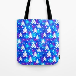Watercolor Seamless pattern with hand drawn snowflakes and christmas tree . Tote Bag